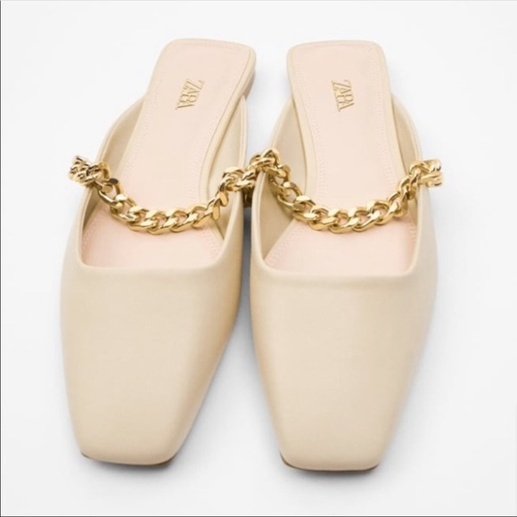 Zara open back slide shoes with chain 8 NWT 39